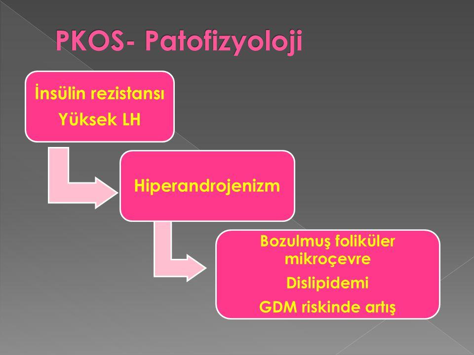 İnsülin rezistansı Yüksek LH Hiperandrojenizm Bozulmuş foliküler mikroçevre Dislipidemi GDM riskinde artış