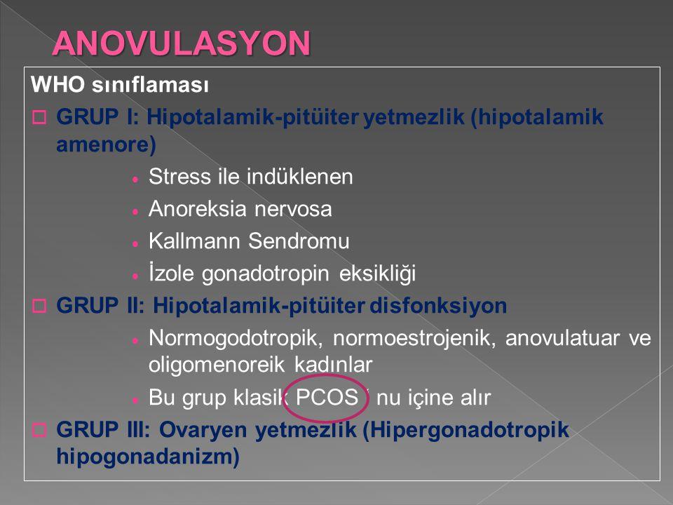 ANOVULASYON WHO sınıflaması  GRUP I: Hipotalamik-pitüiter yetmezlik (hipotalamik amenore)  Stress ile indüklenen  Anoreksia nervosa  Kallmann Send