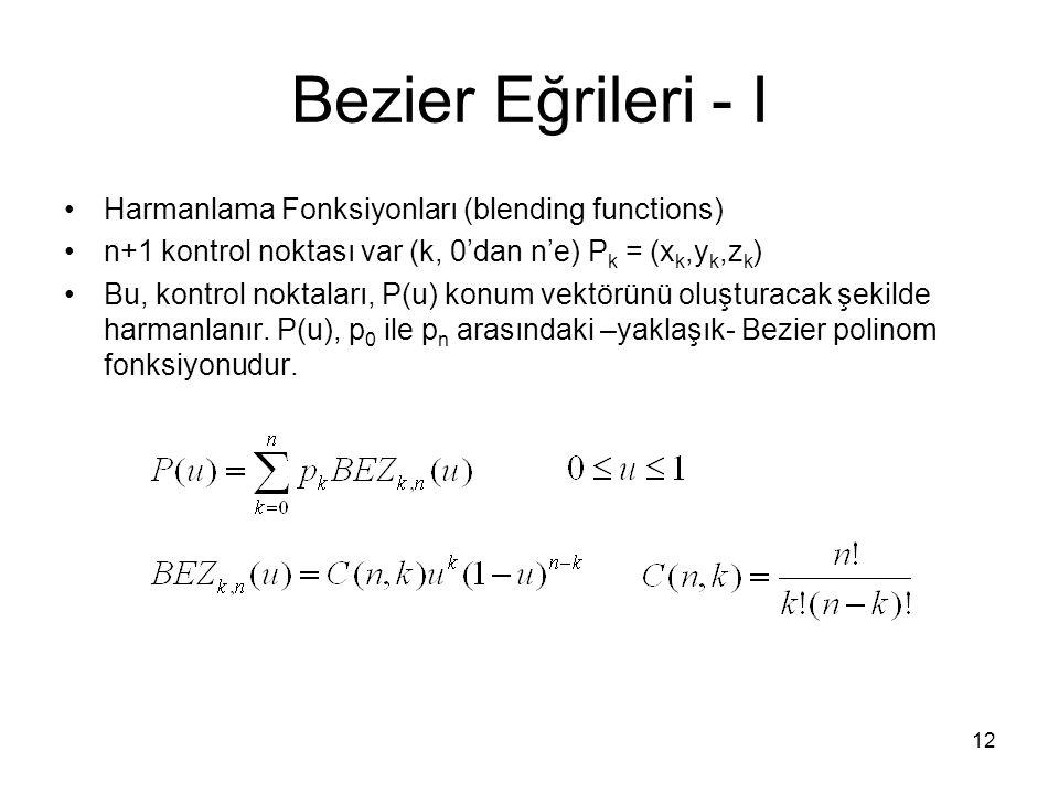 12 Bezier Eğrileri - I Harmanlama Fonksiyonları (blending functions) n+1 kontrol noktası var (k, 0'dan n'e) P k = (x k,y k,z k ) Bu, kontrol noktaları
