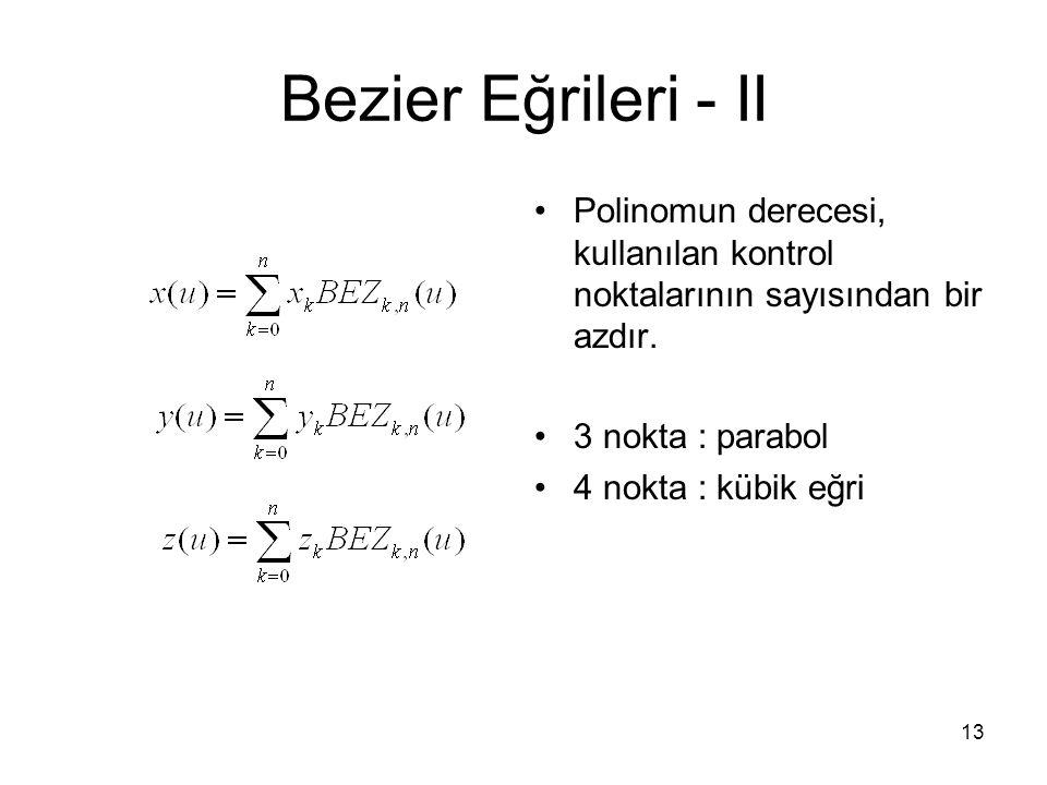 13 Bezier Eğrileri - II Polinomun derecesi, kullanılan kontrol noktalarının sayısından bir azdır. 3 nokta : parabol 4 nokta : kübik eğri
