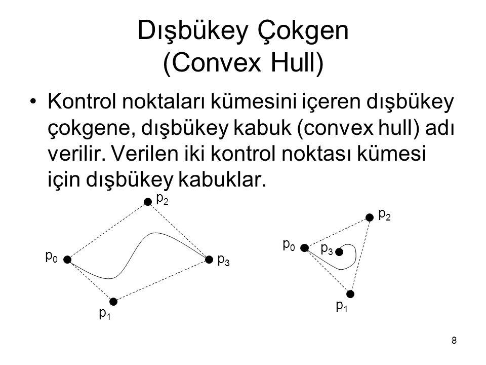 8 Dışbükey Çokgen (Convex Hull) Kontrol noktaları kümesini içeren dışbükey çokgene, dışbükey kabuk (convex hull) adı verilir. Verilen iki kontrol nokt