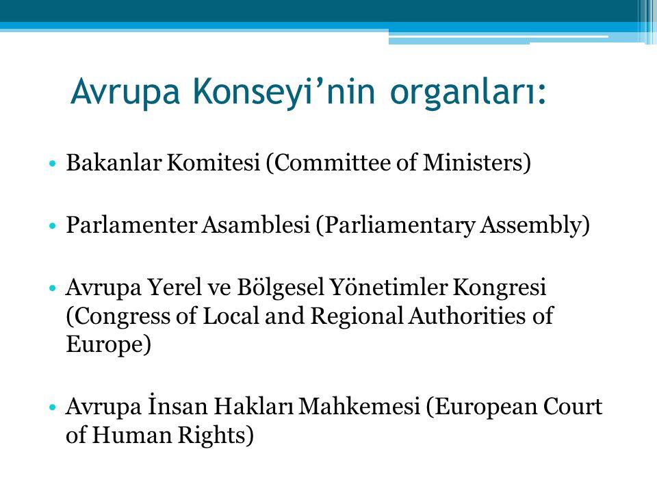 Avrupa Konseyi'nin organları: Bakanlar Komitesi (Committee of Ministers) Parlamenter Asamblesi (Parliamentary Assembly) Avrupa Yerel ve Bölgesel Yönet