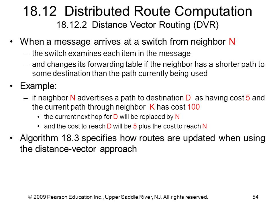 © 2009 Pearson Education Inc., Upper Saddle River, NJ. All rights reserved.54 18.12 Distributed Route Computation 18.12.2 Distance Vector Routing (DVR