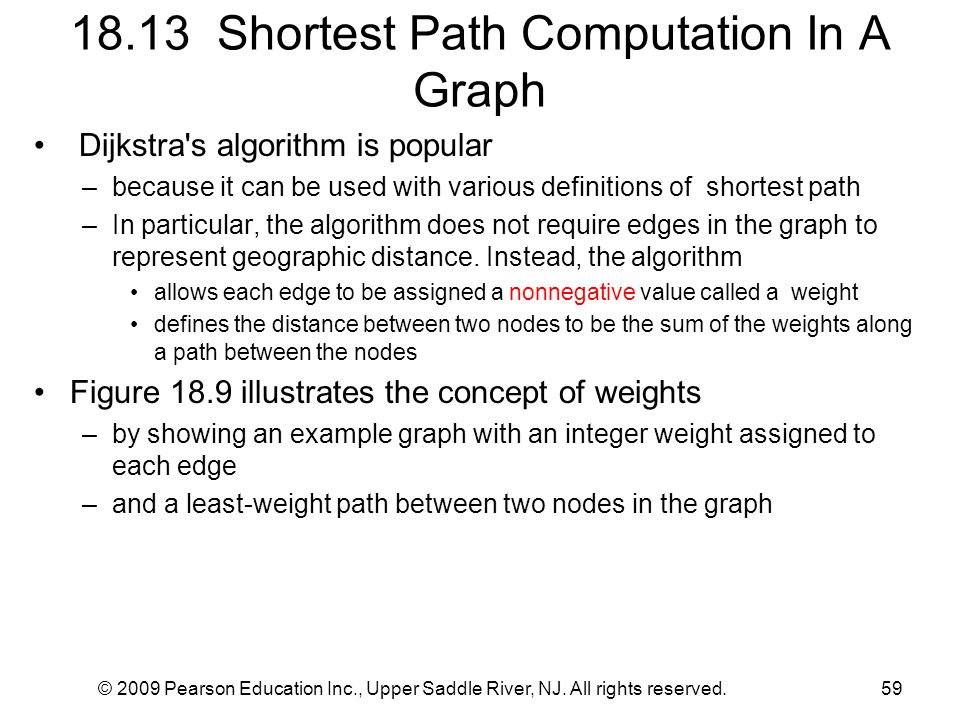 © 2009 Pearson Education Inc., Upper Saddle River, NJ. All rights reserved.59 18.13 Shortest Path Computation In A Graph Dijkstra's algorithm is popul