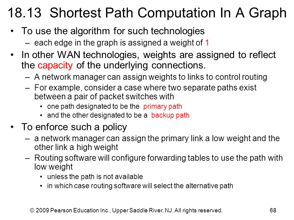 © 2009 Pearson Education Inc., Upper Saddle River, NJ. All rights reserved.68 18.13 Shortest Path Computation In A Graph To use the algorithm for such