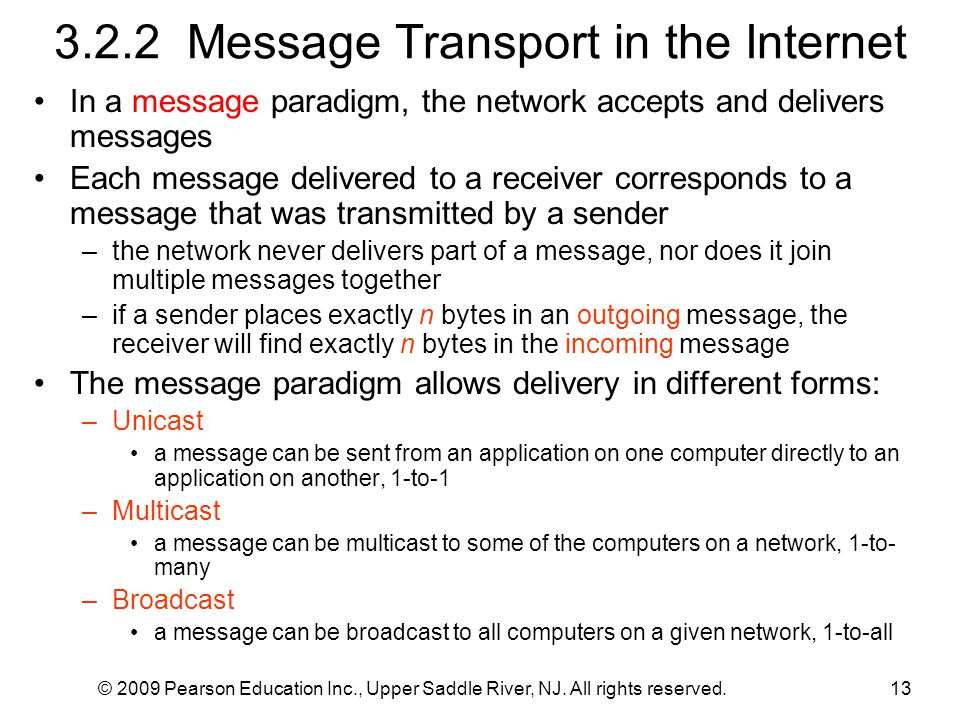 3.2.2 Message Transport in the Internet In a message paradigm, the network accepts and delivers messages Each message delivered to a receiver correspo