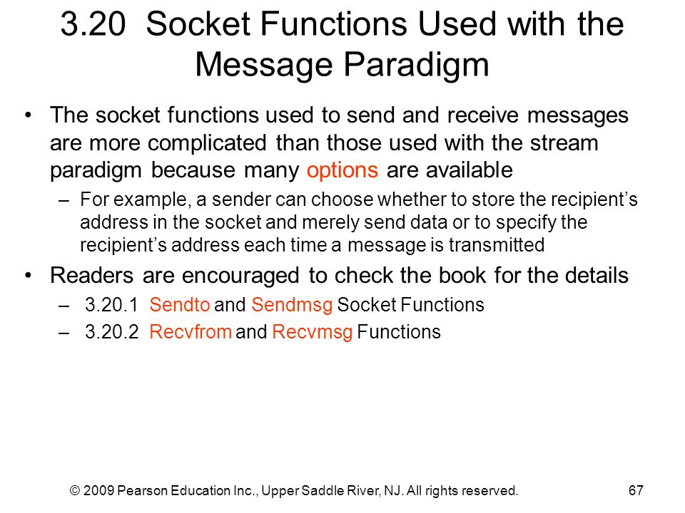 © 2009 Pearson Education Inc., Upper Saddle River, NJ. All rights reserved.67 3.20 Socket Functions Used with the Message Paradigm The socket function