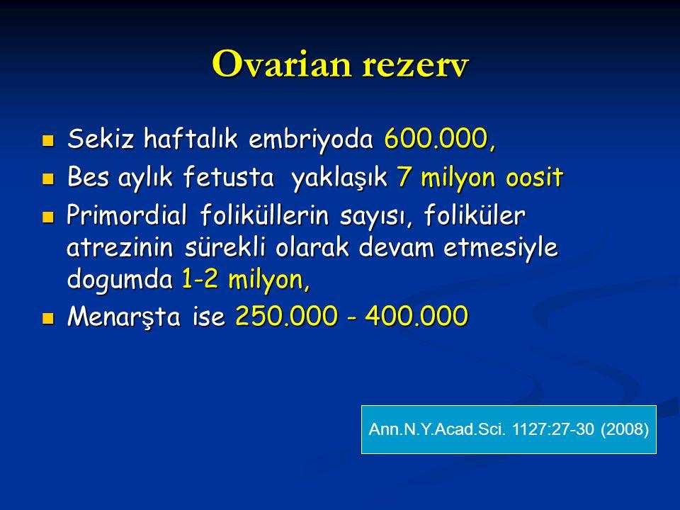 Ovarian rezerv Sekiz haftalık embriyoda 600.000, Sekiz haftalık embriyoda 600.000, Bes aylık fetusta yakla ş ık 7 milyon oosit Bes aylık fetusta yakla