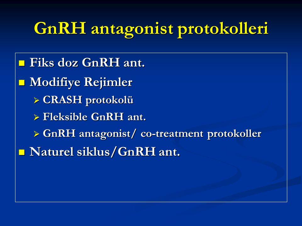 GnRH antagonist protokolleri Fiks doz GnRH ant. Fiks doz GnRH ant. Modifiye Rejimler Modifiye Rejimler  CRASH protokolü  Fleksible GnRH ant.  GnRH