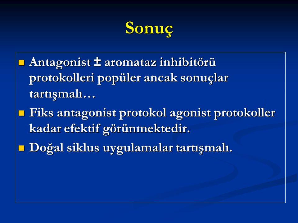 Sonuç Antagonist ± aromataz inhibitörü protokolleri popüler ancak sonuçlar tartışmalı… Antagonist ± aromataz inhibitörü protokolleri popüler ancak son