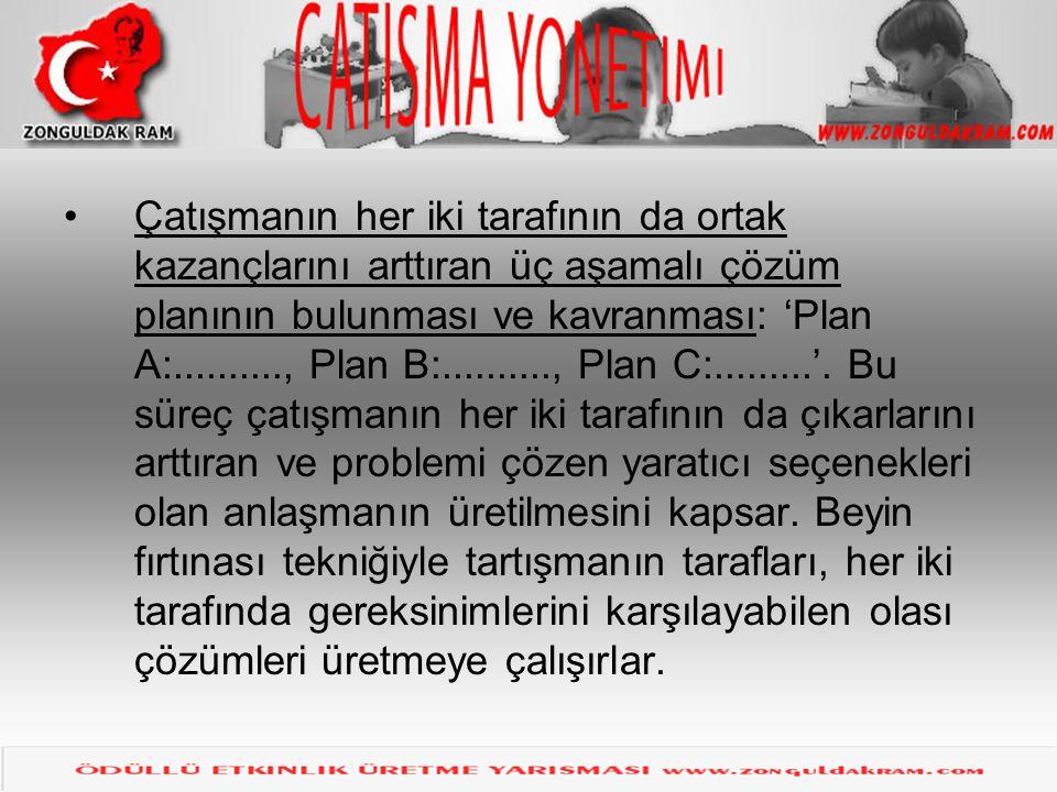 Çatışma çözme Çatışmanın her iki tarafının da ortak kazançlarını arttıran üç aşamalı çözüm planının bulunması ve kavranması: 'Plan A:.........., Plan