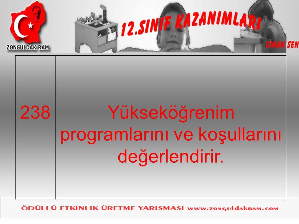 238Yükseköğrenim programlarını ve koşullarını değerlendirir.