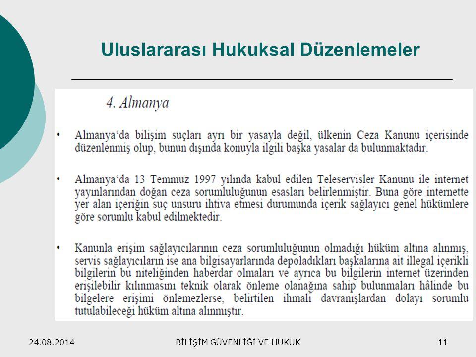 24.08.2014BİLİŞİM GÜVENLİĞİ VE HUKUK11 Uluslararası Hukuksal Düzenlemeler