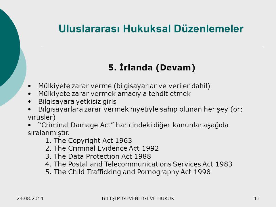 24.08.2014BİLİŞİM GÜVENLİĞİ VE HUKUK13 Uluslararası Hukuksal Düzenlemeler 5. İrlanda (Devam) Mülkiyete zarar verme (bilgisayarlar ve veriler dahil) Mü