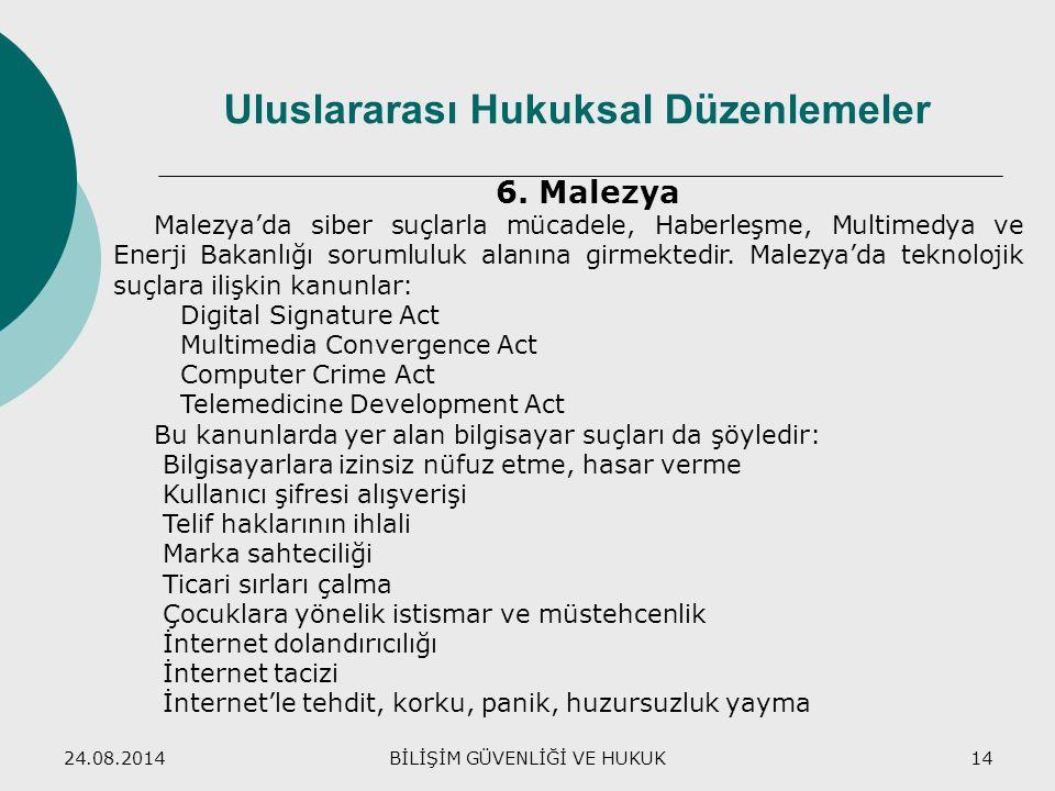 24.08.2014BİLİŞİM GÜVENLİĞİ VE HUKUK14 Uluslararası Hukuksal Düzenlemeler 6. Malezya Malezya'da siber suçlarla mücadele, Haberleşme, Multimedya ve Ene