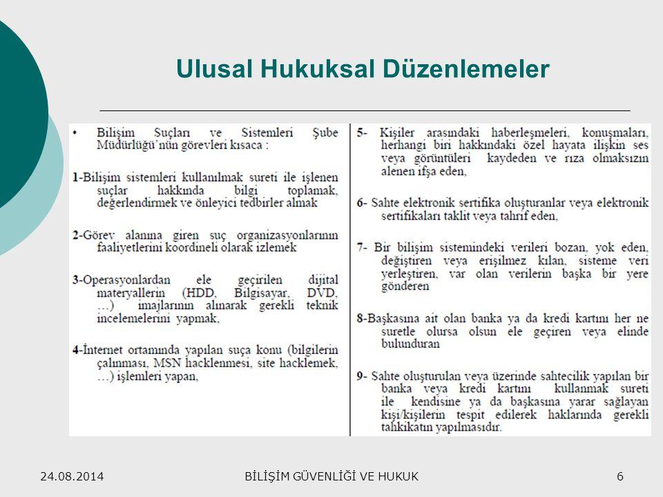 24.08.2014BİLİŞİM GÜVENLİĞİ VE HUKUK6 Ulusal Hukuksal Düzenlemeler