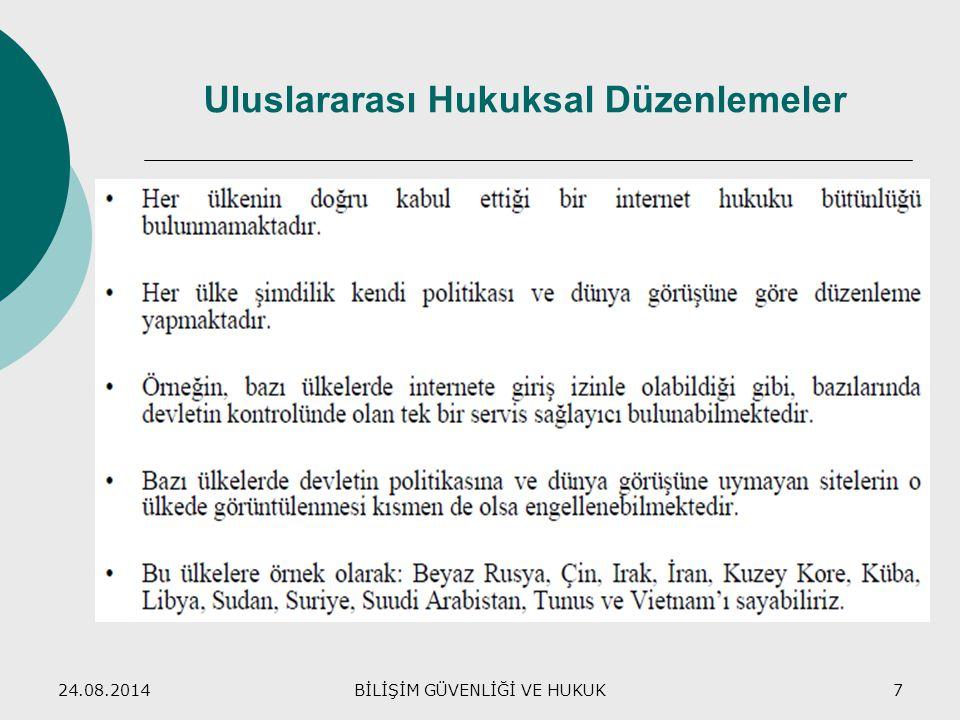 24.08.2014BİLİŞİM GÜVENLİĞİ VE HUKUK7 Uluslararası Hukuksal Düzenlemeler