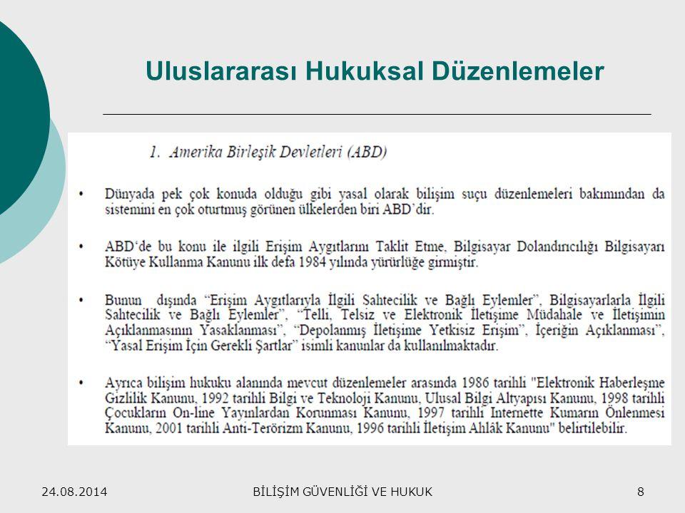 24.08.2014BİLİŞİM GÜVENLİĞİ VE HUKUK8 Uluslararası Hukuksal Düzenlemeler