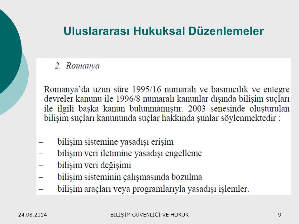 24.08.2014BİLİŞİM GÜVENLİĞİ VE HUKUK9 Uluslararası Hukuksal Düzenlemeler