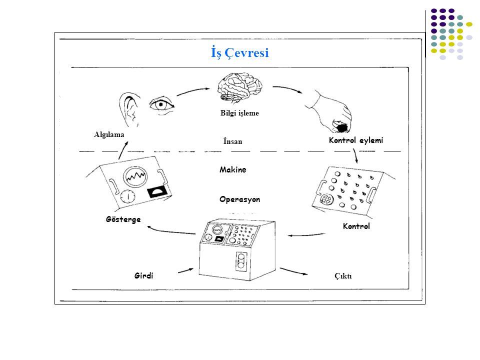İş Çevresi Bilgi işleme Algılama Gösterge İnsan Makin e Operasyon Kontrol eylemi Kontrol Girdi Çıktı