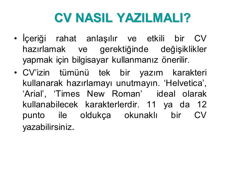 CV NASIL YAZILMALI.