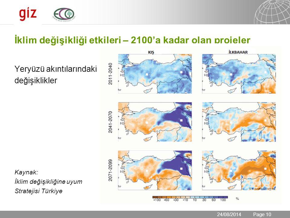 24.08.2014 Seite 10 Page 10 İklim değişikliği etkileri – 2100'a kadar olan projeler Yeryüzü akıntılarındaki değişiklikler Kaynak: İklim değişikliğine uyum Stratejisi Türkiye 24/08/2014