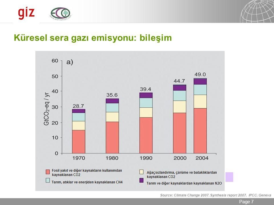 24.08.2014 Seite 7 Page 7 Source: Climate Change 2007. Synthesis report 2007. IPCC. Geneva Küresel sera gazı emisyonu: bileşim