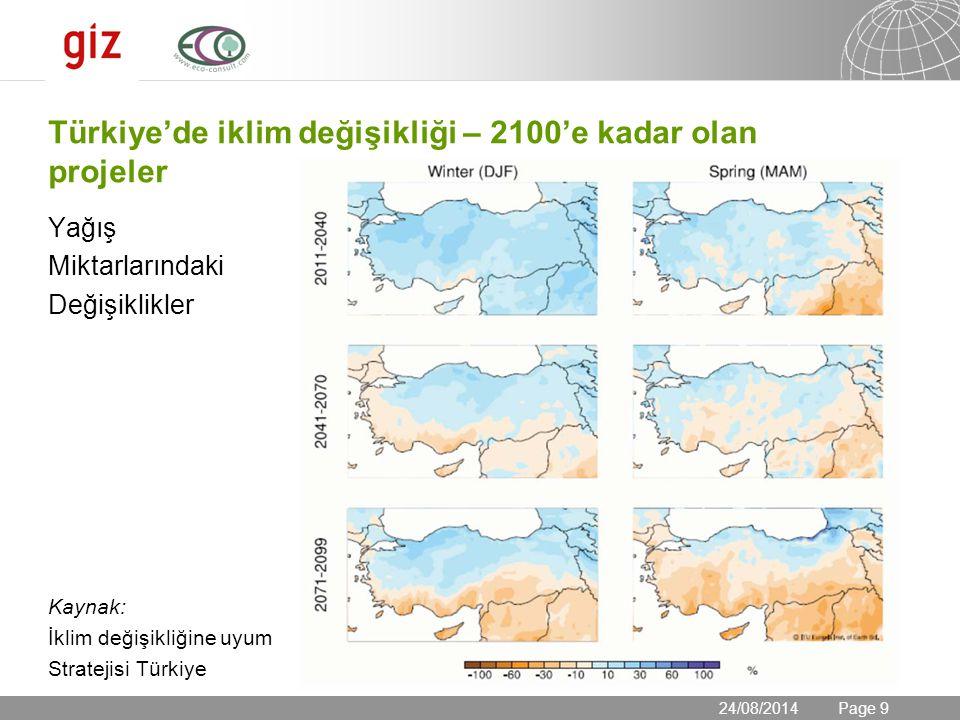 24.08.2014 Seite 9 Page 9 Türkiye'de iklim değişikliği – 2100'e kadar olan projeler Yağış Miktarlarındaki Değişiklikler Kaynak: İklim değişikliğine uy