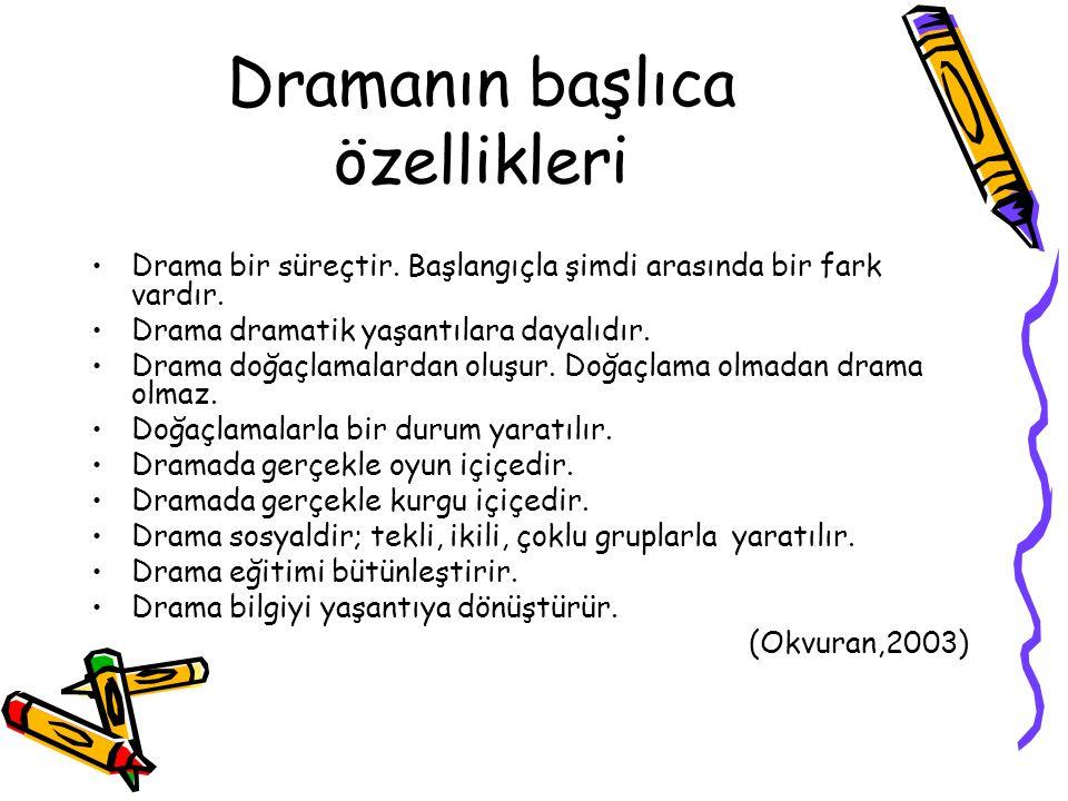 Dramanın başlıca özellikleri Drama bir süreçtir. Başlangıçla şimdi arasında bir fark vardır. Drama dramatik yaşantılara dayalıdır. Drama doğaçlamalard