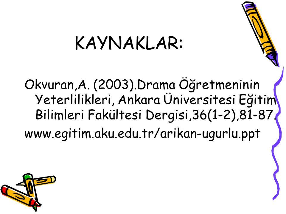 KAYNAKLAR: Okvuran,A. (2003).Drama Öğretmeninin Yeterlilikleri, Ankara Üniversitesi Eğitim Bilimleri Fakültesi Dergisi,36(1-2),81-87. www.egitim.aku.e
