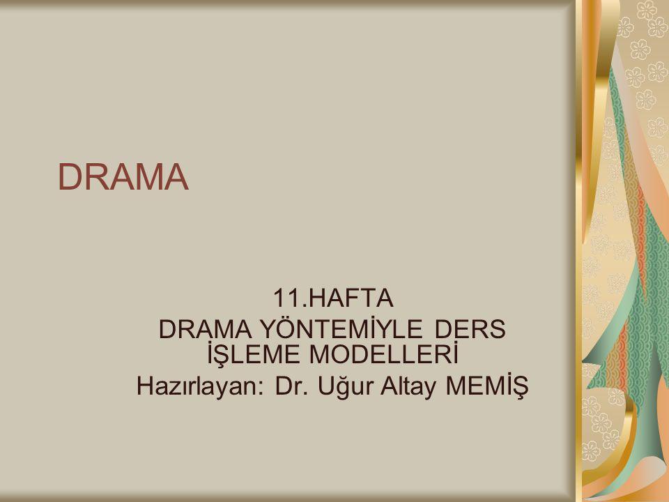 DRAMA 11.HAFTA DRAMA YÖNTEMİYLE DERS İŞLEME MODELLERİ Hazırlayan: Dr. Uğur Altay MEMİŞ