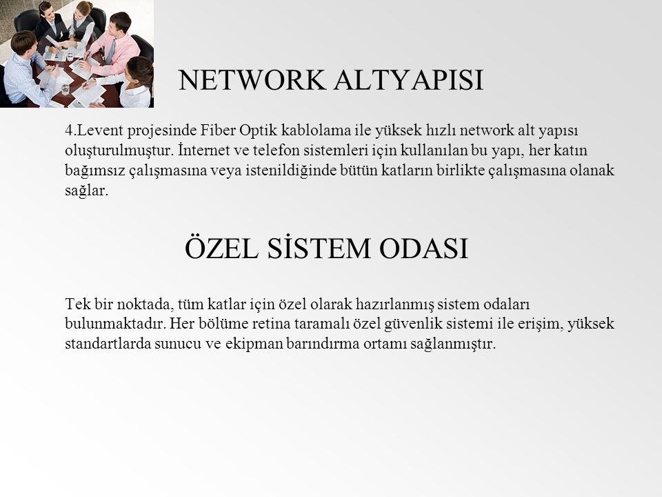 NETWORK ALTYAPISI 4.Levent projesinde Fiber Optik kablolama ile yüksek hızlı network alt yapısı oluşturulmuştur. İnternet ve telefon sistemleri için k