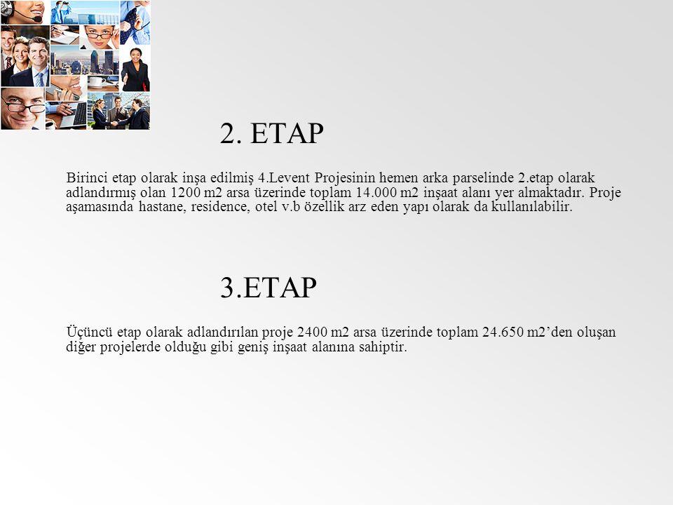 2. ETAP Birinci etap olarak inşa edilmiş 4.Levent Projesinin hemen arka parselinde 2.etap olarak adlandırmış olan 1200 m2 arsa üzerinde toplam 14.000