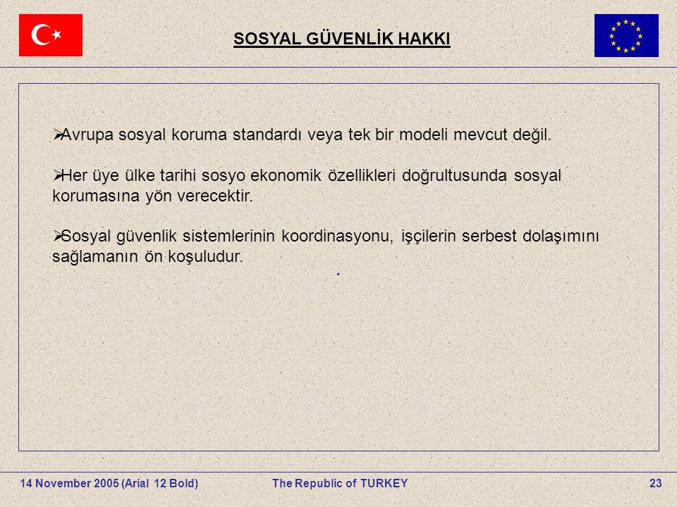 23The Republic of TURKEY14 November 2005 (Arial 12 Bold).