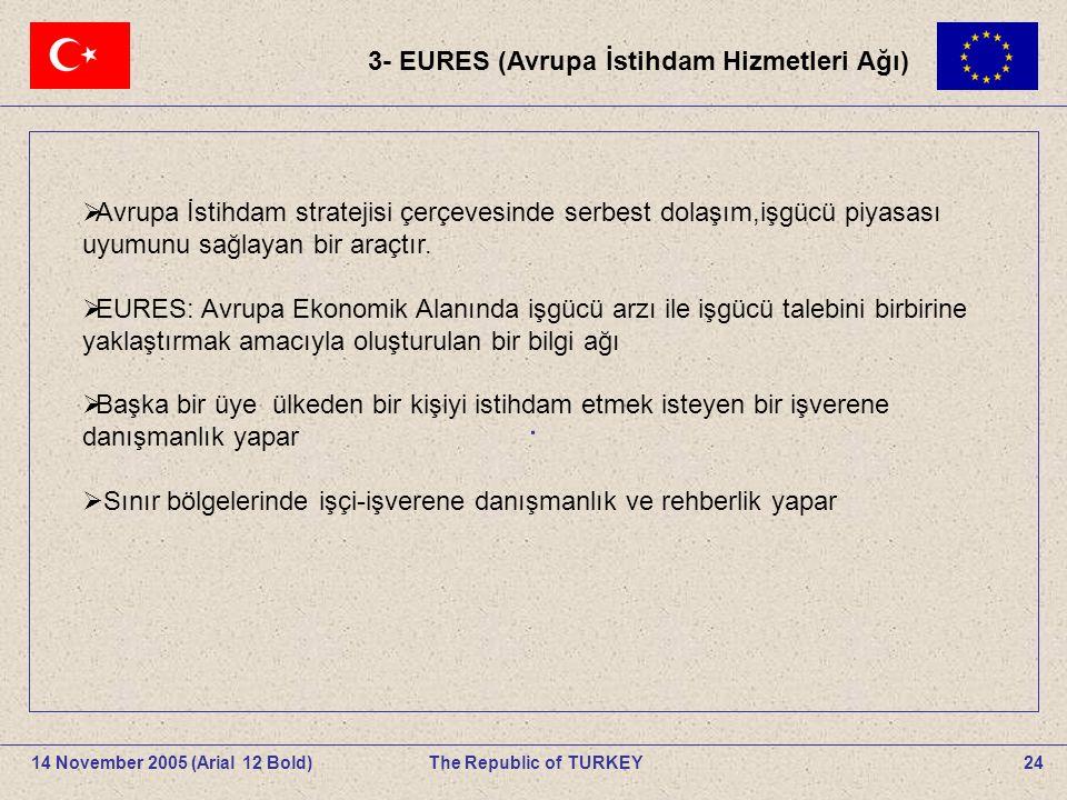 24The Republic of TURKEY14 November 2005 (Arial 12 Bold).