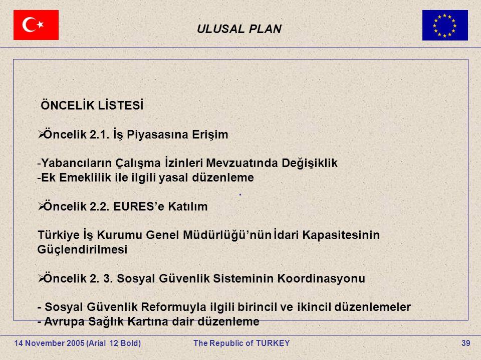 ULUSAL PLAN 39The Republic of TURKEY14 November 2005 (Arial 12 Bold).