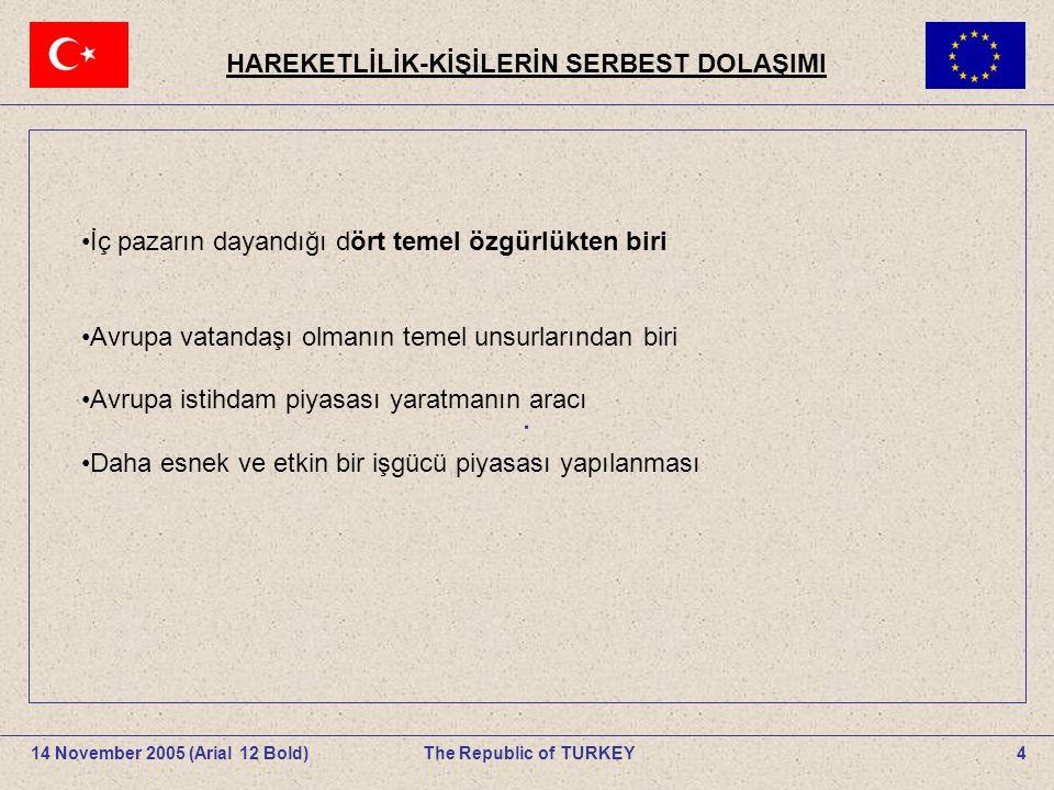 HAREKETLİLİK-KİŞİLERİN SERBEST DOLAŞIMI 4The Republic of TURKEY14 November 2005 (Arial 12 Bold).
