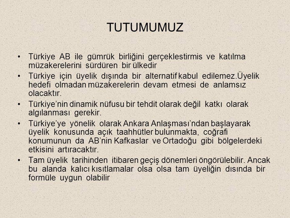 TUTUMUMUZ Türkiye AB ile gümrük birliğini gerçeklestirmis ve katılma müzakerelerini sürdüren bir ülkedir Türkiye için üyelik dışında bir alternatif kabul edilemez.Üyelik hedefi olmadan müzakerelerin devam etmesi de anlamsız olacaktır.