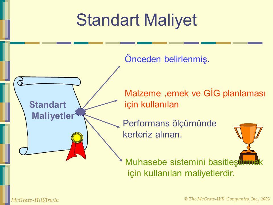 © The McGraw-Hill Companies, Inc., 2003 McGraw-Hill/Irwin Standart Maliyet Standart Maliyetler Önceden belirlenmiş. Malzeme,emek ve GİG planlaması içi