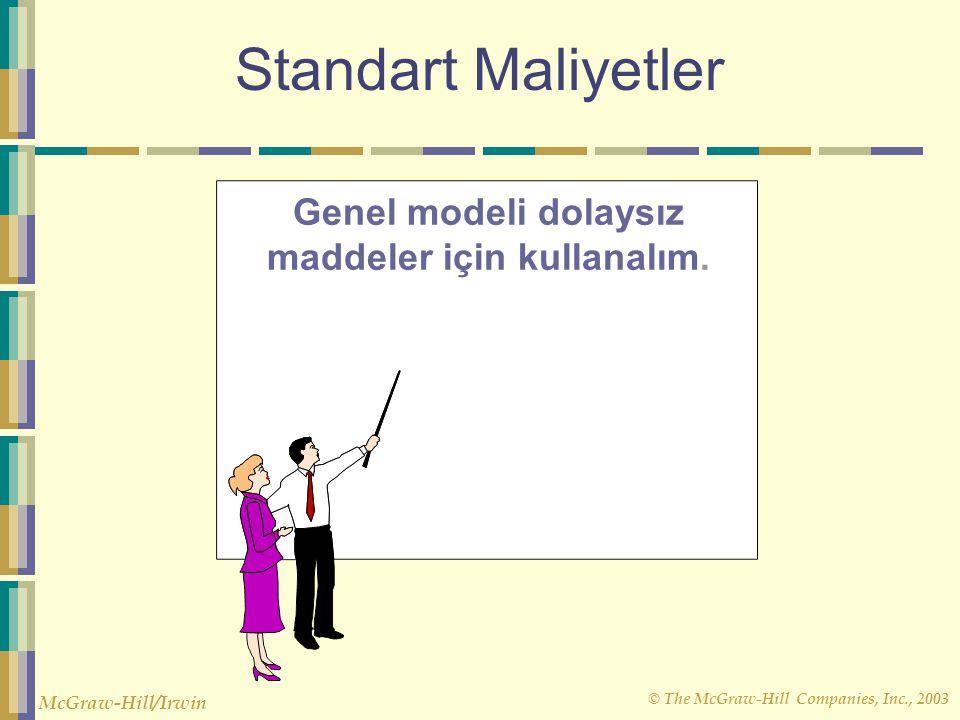 © The McGraw-Hill Companies, Inc., 2003 McGraw-Hill/Irwin Standart Maliyetler Genel modeli dolaysız maddeler için kullanalım.