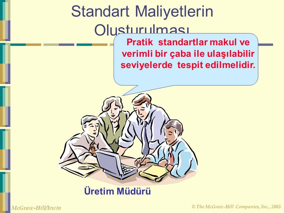 © The McGraw-Hill Companies, Inc., 2003 McGraw-Hill/Irwin Standart Maliyetlerin Oluşturulması Pratik standartlar makul ve verimli bir çaba ile ulaşıla