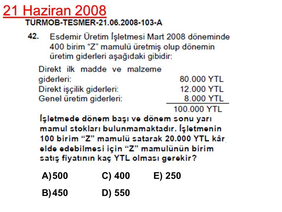 A)500 C) 400 E) 250 B)450 D) 550