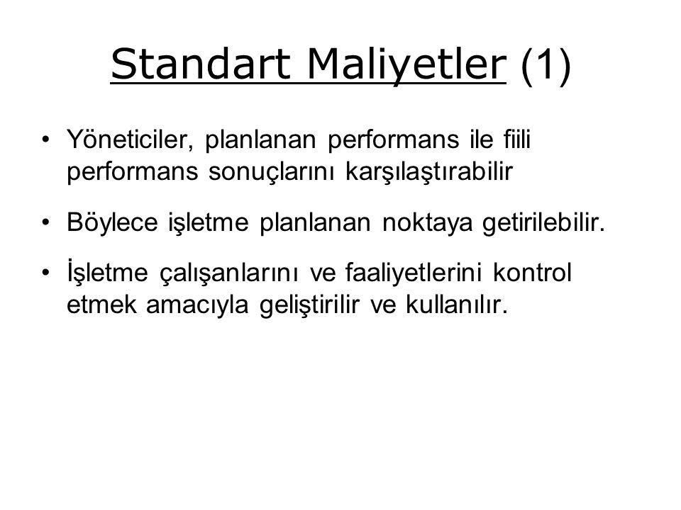Standart Maliyetler (1) Yöneticiler, planlanan performans ile fiili performans sonuçlarını karşılaştırabilir Böylece işletme planlanan noktaya getirilebilir.