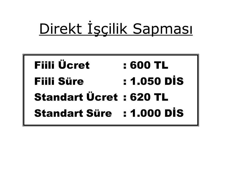 Direkt İşçilik Sapması Fiili Ücret : 600 TL Fiili Süre: 1.050 DİS Standart Ücret : 620 TL Standart Süre: 1.000 DİS