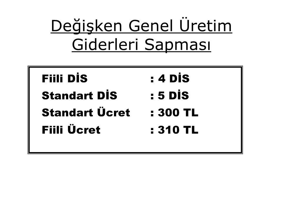 Değişken Genel Üretim Giderleri Sapması Fiili DİS: 4 DİS Standart DİS : 5 DİS Standart Ücret : 300 TL Fiili Ücret: 310 TL