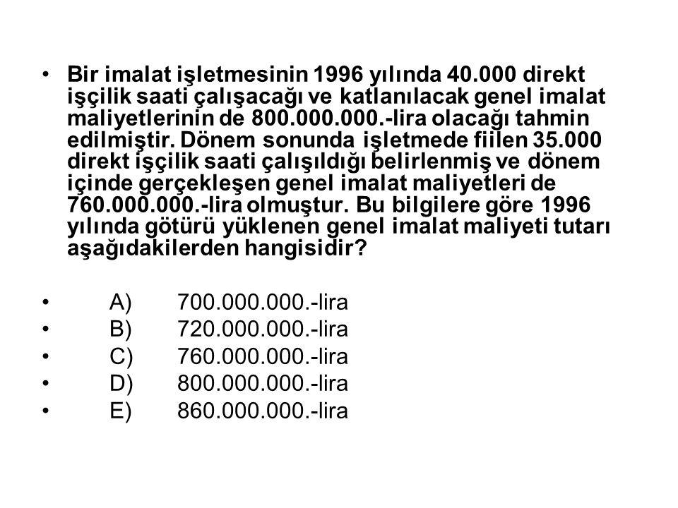 Bir imalat işletmesinin 1996 yılında 40.000 direkt işçilik saati çalışacağı ve katlanılacak genel imalat maliyetlerinin de 800.000.000.-lira olacağı tahmin edilmiştir.