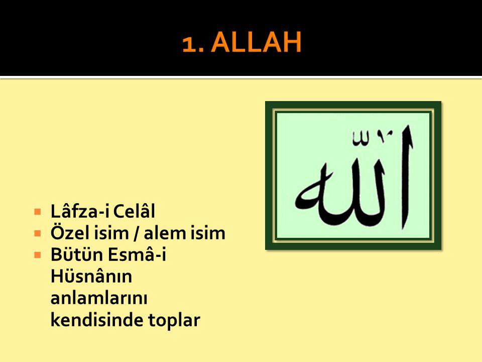  Lâfza-i Celâl  Özel isim / alem isim  Bütün Esmâ-i Hüsnânın anlamlarını kendisinde toplar