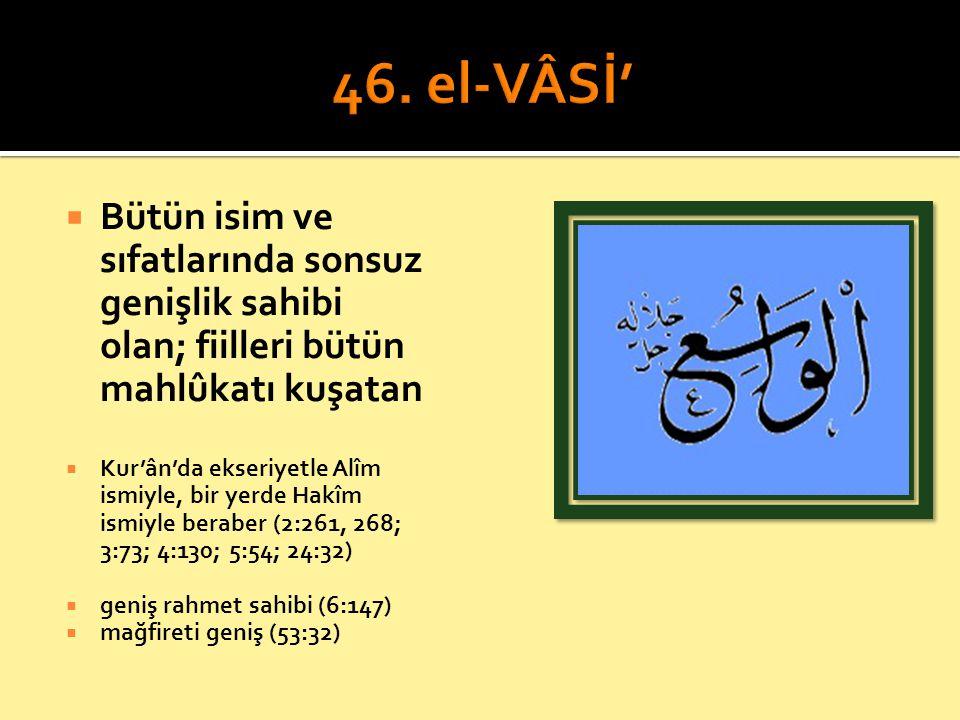  Bütün isim ve sıfatlarında sonsuz genişlik sahibi olan; fiilleri bütün mahlûkatı kuşatan  Kur'ân'da ekseriyetle Alîm ismiyle, bir yerde Hakîm ismiy