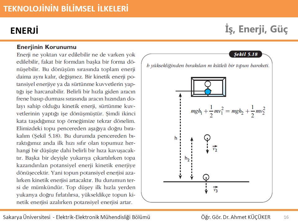 TEKNOLOJİNİN BİLİMSEL İLKELERİ İş, Enerji, Güç Öğr. Gör. Dr. Ahmet KÜÇÜKER Sakarya Üniversitesi - Elektrik-Elektronik Mühendisliği Bölümü 16 ENERJİ