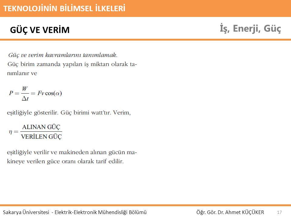 TEKNOLOJİNİN BİLİMSEL İLKELERİ İş, Enerji, Güç Öğr. Gör. Dr. Ahmet KÜÇÜKER Sakarya Üniversitesi - Elektrik-Elektronik Mühendisliği Bölümü 17 GÜÇ VE VE